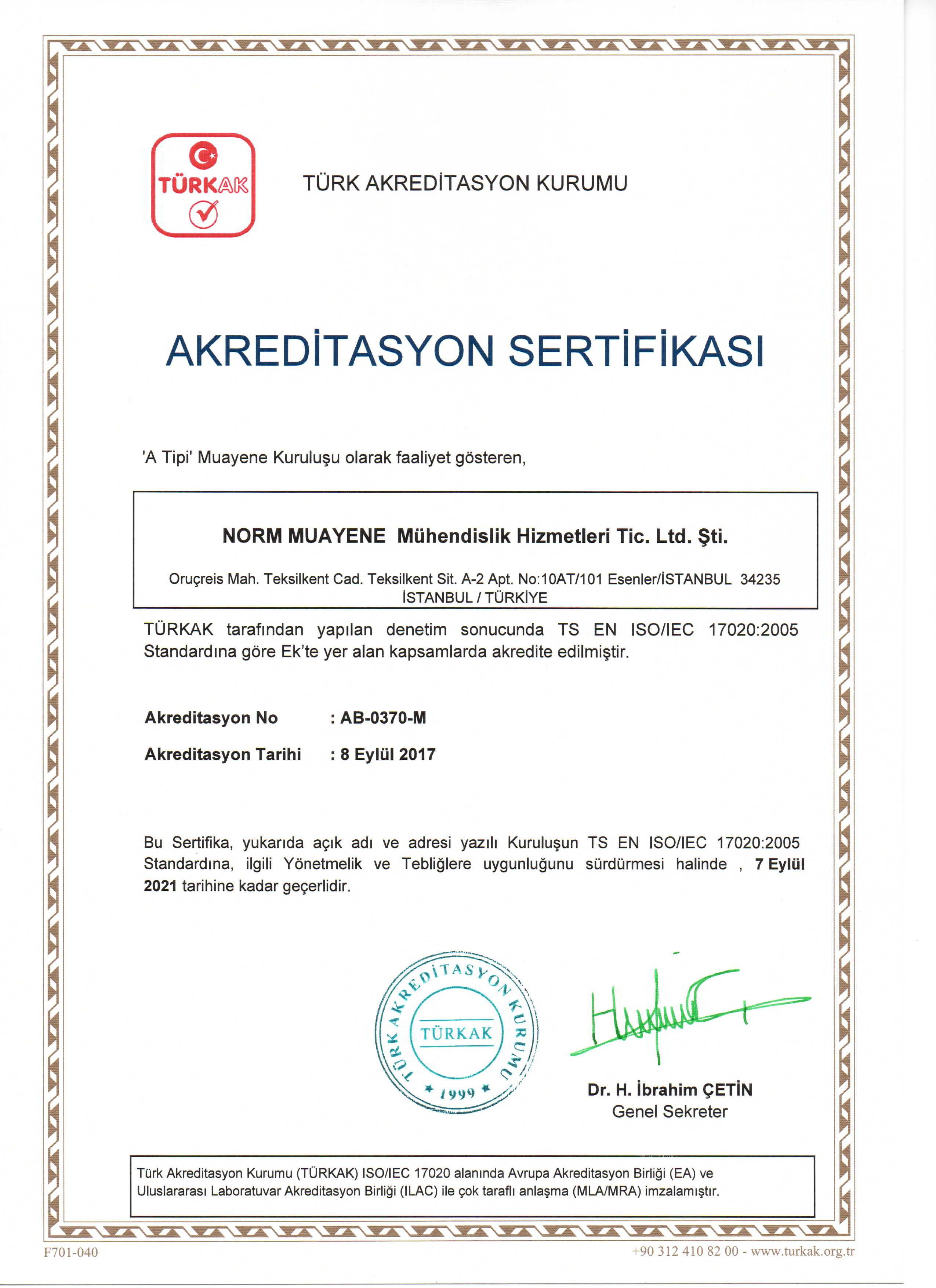 türkak akreditasyon norm muayene